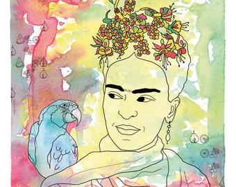 Frida Kahlo print, Frida Kahlo illustration, Frida Kahlo art, Frida Kahlo poster , 8.5x11
