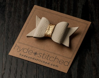 """Gold Glitter Leather Hair Bow, One 2.5"""" Handcrafted Leather Bow, Hair Accessory"""