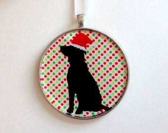 Santa Dog Ornament - Choose your background pattern -dog silhouette with colorful holiday background