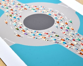 Peloton Cycling Poster, Peloton Roundabout Art Print