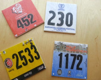 Set of 8 Race Bib Coasters - Your race bibs individually turned into coasters - Race Bib - Gifts for Runners Race bib display