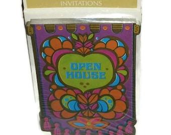 PSYCHEDELIC Invitations 60s 70s MOD Hippie Open House Funky Purple Vintage HALLMARK Holiday Christmas Party Card Invites Stationery Ephemera