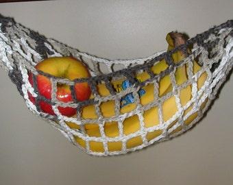 Banana Hammock, Fruit Hanger, Holder, Net, Variegated Brown, Taupe, Cream, White