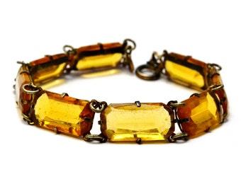 Vintage unsigned Czech topaz yellow rectangular faceted glass cab link bracelet