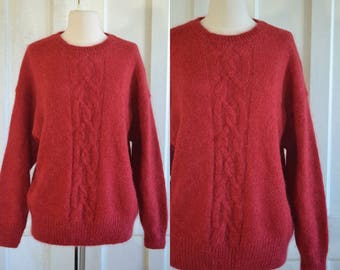 Red Mohair Oversized Sweater Cable Knit Fuzzy Pullover Sweater
