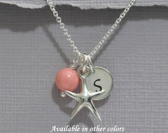 Sterling Silver Starfish Necklace, Sea Star Necklace, Beach Wedding Necklace, Bridesmaid Gift Necklace, Beach Jewelry, Bridesmaid Necklace
