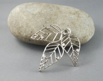 3D Leaf silver pendant. Delicate jewelry