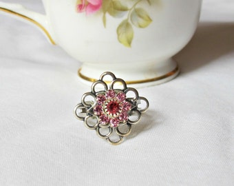 Pink Swarovski Crystal Ring - Gift For Women Jewelry Jewellery - Adjustable Silver Diamond Flower Floral