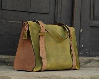 natural leather handmade bag Lili woman bag ladybuq art lime