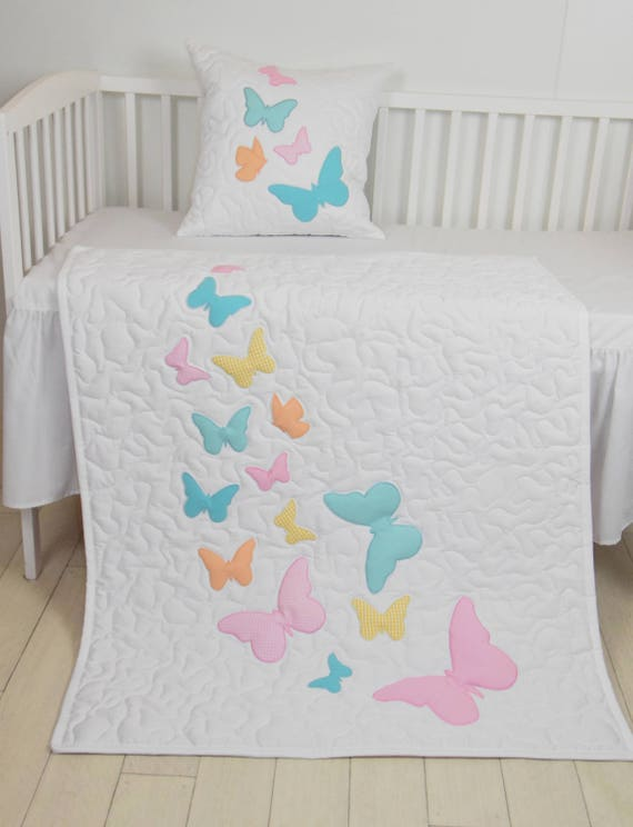 Butterfly Blanket, Gray Purple Butterfly Quilt Blanket, Modern Baby Crib Blanket