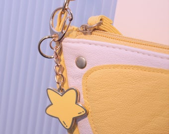 Cute Star enamel keyring, keychain, bag charm, key ring, key chain, gift, handbag charm stocking filler  gift