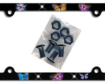 Butterflies Auto License Plate Frame Gifts Girls Ladies Plate Holder & 4 Mounting Screw Butterfly Car Accesories