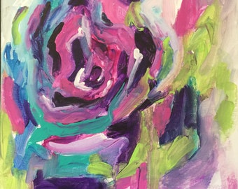 Abstract Acrylic floral rose 12x12 gallery wrap canvas original painting expressionism bold bright home decor