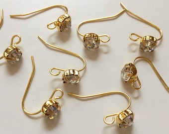 20 pcs Gold Plated Rhinestone Ear hooks,gold plated earwire,earring hook,golden ear hooks,rhinestone ear hook,brass ear hook,earring setting