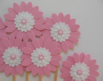 Flower Cupcake Toppers - Rose Pink and White Daisies - Girl Birthday Parties - Bridal Showers - Weddings - Girl Baby Showers