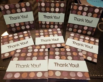 SALE 8 Mini Thank you cards hand stamped orders 3x3 blue colorful polka dots perfect for your Etsy orders