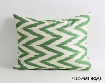 silk ikat pillow cover, Double side, zigzag chevron pillow, green white silk pillows decorative lumbar pillow, ikat bedding