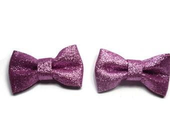Lavender Glitter Bow Hair Clips, Hair Clip Set, Pigtail Hair Bows, Purple Glitter Bows, Birthday Gift, Baby Hair Bows