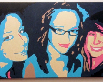 Commissioned Portrait Pop Art Painting Acrylic on Canvas from Customers Own Photograph (selfie portrait friends celebration big night out)
