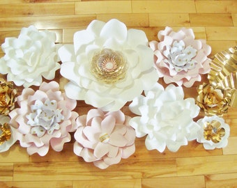 Set of 10 Paper Flowers - Baby Nursery Decor | Nursery Wall | Flower Backdrop | Home Decor | Wedding Decorations | Flower Wall