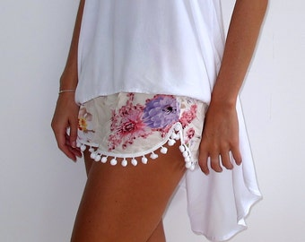 Pom Pom Shorts - Pink Blossom Print with Large White Pom Pom's
