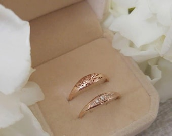 Unique Rose gold ring, Vintage style engagement and wedding rings, Cognac diamonds engagement ring, unique engagement and wedding ring set