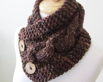 """Knit Neck Warmer, Cable Knit Scarf,  Chunky Warm Winter Scarf in Sequoia 6"""" x 25"""" - Coconut Shell Buttons Ready to Ship - Gift for Her"""