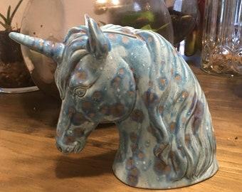 Unicorn piggy bank glazed ceramic