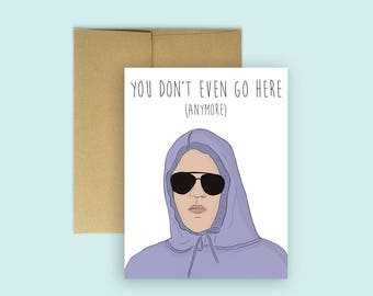 "Damian from Mean Girls ""You Don't Even Go Here"" Going Away/Good-Bye Card  (Miss You Cards, Going Away Card, Farewell Card, Pop Culture Card)"