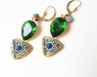 Blue and green emerald earrings
