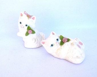 VINTAGE  White KITTEN FIGURINES/ Pair