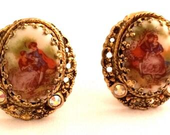 W GERMANY Cabochon Clip Earrings Golden Filigree Feminine Vintage Designer Jewelry artedellamoda SALE was 45