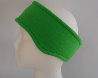 Bright Kelly Green Reversible Fleece Ear Warmer / Earband