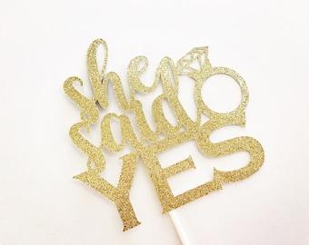 She Said Yes Cake Topper, Engagement Party Cake Topper, Bridal Shower Cake Topper, Bridal shower decorations, engagement Party decorations