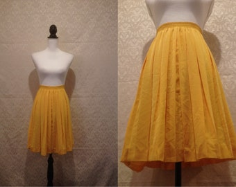 1980s Yellow Pleated Midi Skirt Schoolgirl Prairie Summer Spring Dressy Day Skirt Tennis XS-M