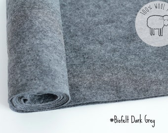 "Heather felt in dark grey, pure wool felt, 20cm by 91cm (9"" x 36""), 1 - 1,5mm, biofelt natural dark grey colour - Ships from Ireland"