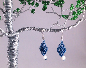 White Marble and Blue Macramé Earrings