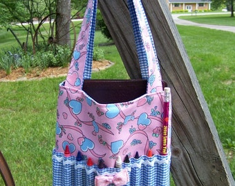 Sewing pattern for Childs Crayon Tote Bag pdf pattern or Bible cover, easy sewing pattern,SALE with Immediate Download