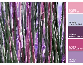 Abstract Water Reeds mixed media painting - purple pink sage green lavender wall decor, spring decor, summer decor, contemporary, modern art