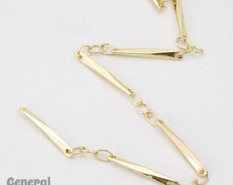 15mm x 1.7mm Gold Twisted Bar Link Chain #CCA212