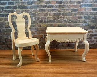 Dollhouse miniature furniture in twelfth scale or 1:12 scale.  Unfinished, handmade chair. Item #D377 .