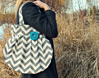 Grey Chevron Handbag, Large Tote Grey with Teal Flower, Large Handbag, Hobo Bag, Grey Chevron Cute Bag, Cute Large Yoga Bag, Fun Bag