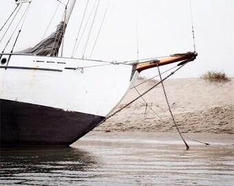 Nautical Photography, Sailboat Wall Art, Black White Grey, Sandy Shore, Morro Bay California, Nautical Decor, Boat Wall Art