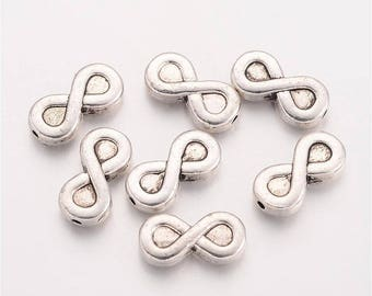 50pcs Silver Infinity Spacer Beads Tibetan Style 13x6x3mm Hole 1mm