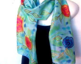 "Hand Painted Silk Scarf, Floral, Roses, Ice Blue Medium Blue Orange Red Copper, 71"" x 18"", Handpainted Silk Scarf"