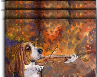 4 x Basset hound dog greeting cards playing the violin fiddle player practising strings music practice from Susan Alison watercolor painting