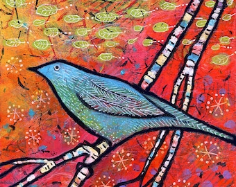 Blue Bird Art, Canvas Nature Print, Woodland Bird Decor, Colorful Art by Lindy Gaskill