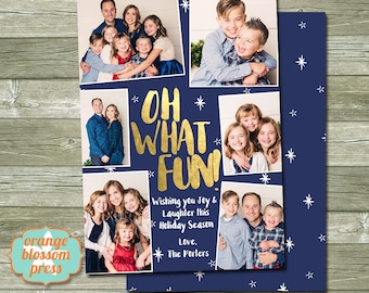 Oh What Fun Christmas Card, Photo Christmas Card, Holiday Card, Gold Foil, Collage Christmas Card, Multiple Photos