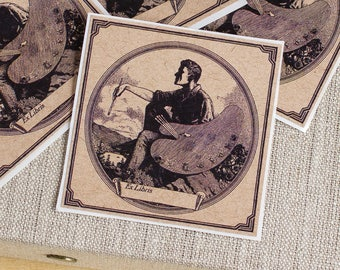 artist bookplates - painter's palette book plates - Ex Libris - masculine bookplate stickers - gifts for artists - bookworm for him - custom