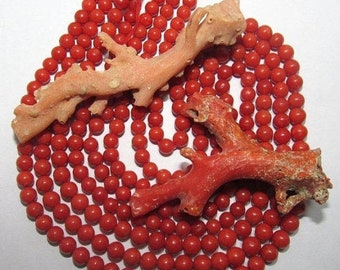 100% Natural Italian Coral Beads Round Shape Size 6mm LENGHT 10 INCH
